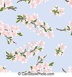 Seamless texture cherry blossoms vector