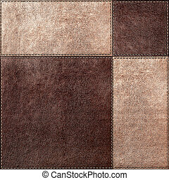 Seamless texture combination of leather squares in vintage...