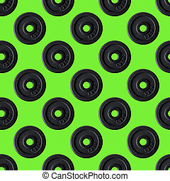 Seamless texture dumbbell sport health vintage decorative background, repeat tiles, round design template. Sample circles