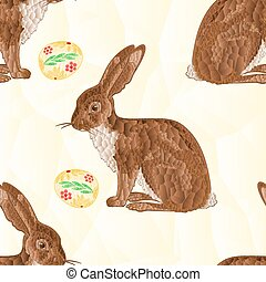 Seamless texture Easter Bunny and Easter eggs mosaic vector
