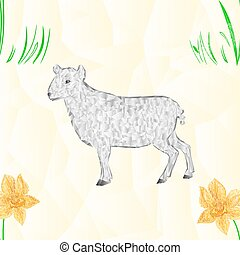 Seamless texture Easter lamb and Daffodil polygons...