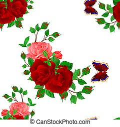 Seamless texture floral bunch with red and pink Roses and butterfly vector