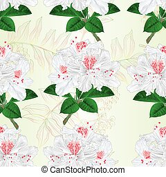 Seamless texture flowers white rhododendrons twig vector.eps...