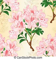 Seamless texture light pink rhododendron branch and...
