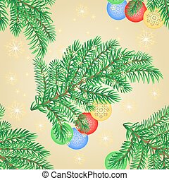 Seamless texture Merry Christmas branch with various baubles vector.eps