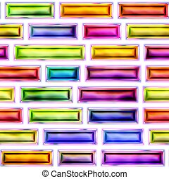 Seamless texture of abstract bright shiny colorful geometric shapes. Isolation on a white background