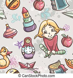 Seamless texture of children's toys for the girls in black contour
