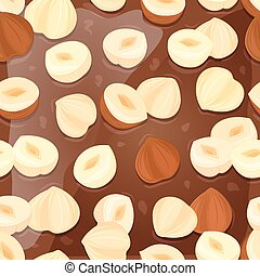 seamless texture of chocolate with filberts for your design