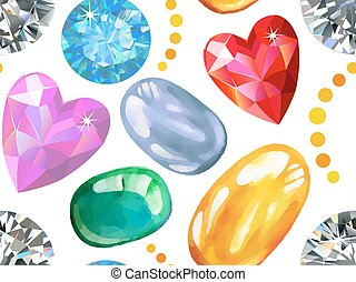 Seamless texture of colored gems