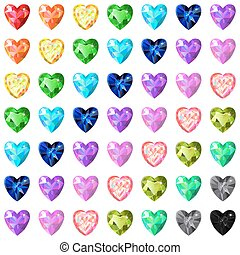 Seamless texture of colored heart