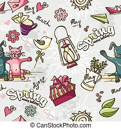Seamless texture of colored spring doodles on a gray background