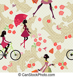 Seamless texture of fashion girls on vacation