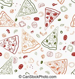 Seamless texture of image slices of pizza