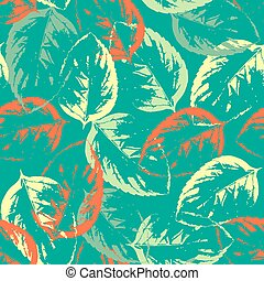Seamless texture of leaves on aquamarine background