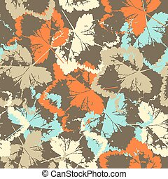 Seamless texture of leaves on brown background
