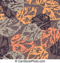 Seamless texture of leaves on dark background