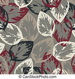 Seamless texture of leaves on gray background