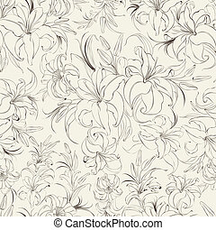 Seamless texture of lilies. Vector illustration.