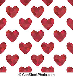 texture of red hearts in the cryst