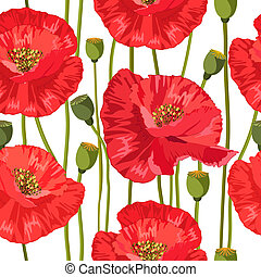 seamless texture of red poppies