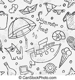 Seamless texture of summer vector hand drawn doodles. Black cont