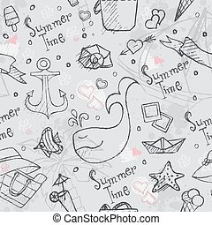 Seamless texture of summer vector hand drawn doodles