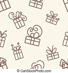 seamless texture of the dark outline of gifts on a light background