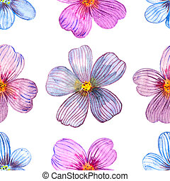 seamless texture of watercolor flowers