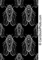 Seamless texture on blackboard with cicadas. Vector background f