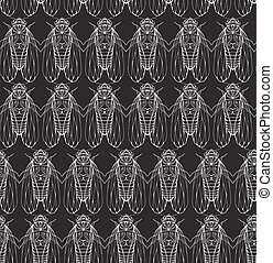 Seamless texture on blackboard with cicadas. Vector background for your creativity