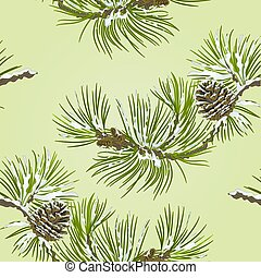 Seamless texture Pine branch with pine cone vector.eps
