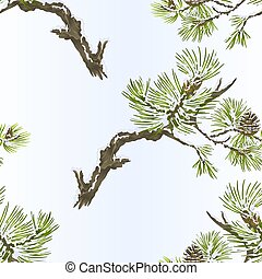 Seamless texture pine branches and cones and snow vector.eps...