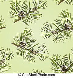 Seamless texture pine tree branch with pine cones with snow...