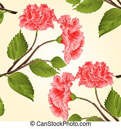 Seamless texture pink hibiscus tropical flower vector