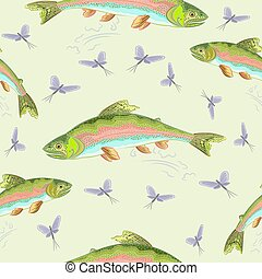 Seamless  texture rainbow trout vec