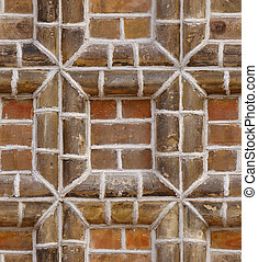 seamless texture red brick frame wall background...