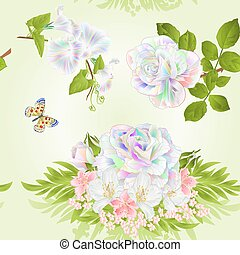 Seamless texture rose multicolored cherry blossom and jasmine with butterfly vector.eps