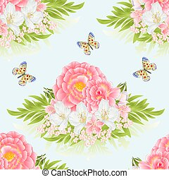Seamless texture rose pink with orange center cherry blossom and jasmine with butterfly vector.eps