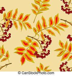 Seamless texture rowanberry vector - Seamless texture twig...