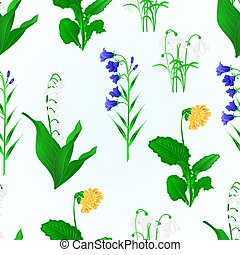 Seamless texture spring flowers lily of the valley...