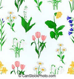 Seamless texture spring flowers various vector.eps -...