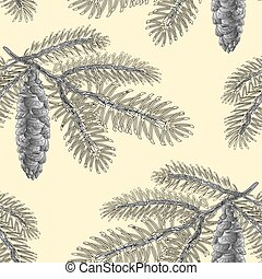 Seamless texture Spruce branch with cone as vintage engraving Vector.eps