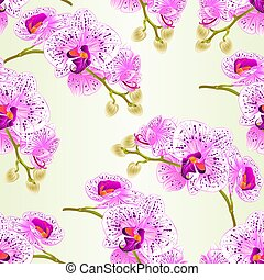 Seamless texture stem orchids flowers purple and white vector.eps