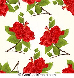 Seamless texture Stem red hibiscus tropical flower cracks in the porcelain vintage vector.eps