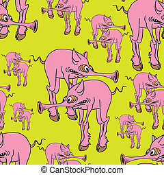 Seamless texture. Strange pink pig.