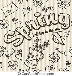 Seamless texture - the spring of doodles.