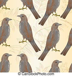 Seamless texture Thrush bird and rowanberry vintage...