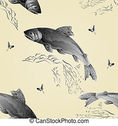 Seamless texture Trout jumps  in stream as wrought metal vintage vector.eps