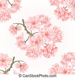 Seamless texture twig tree  sakura blossoms vintage hand draw  natural pink background vector.eps