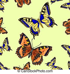 Seamless texture two Butterfly vect